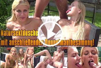 Geile-Blondchen: Natursektdusche mit anschließender Doppelmaulbesamung!