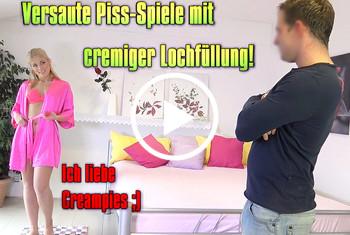 Geile-Blondchen: Versaute Piss-Spiele mit cremiger Lochfüllung!