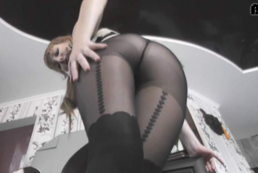 F*****b in thick black tights
