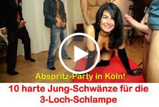 Abspritz-Party in Köln. 10 dicke Schwänze für die Latex-Schlampe