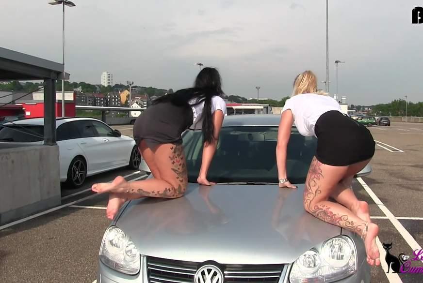 MEGA DREIST - Geile Büroschlampen p****n PUBLIC aufs Auto