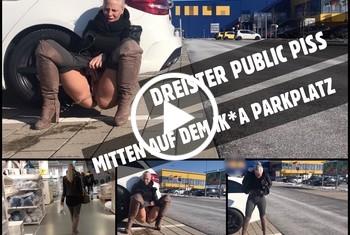 Lara-CumKitten: Mitten auf dem Kaufhausparkplatz - Public PISS nach dem shoppen