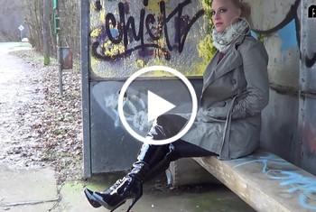 Outdoor erkannt - spontaner Facial Blowjob