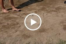 Im Sand gebadet