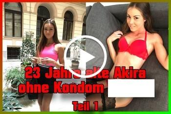 23 Jahre alte Akira ohne Kondom g*****t Teil 1